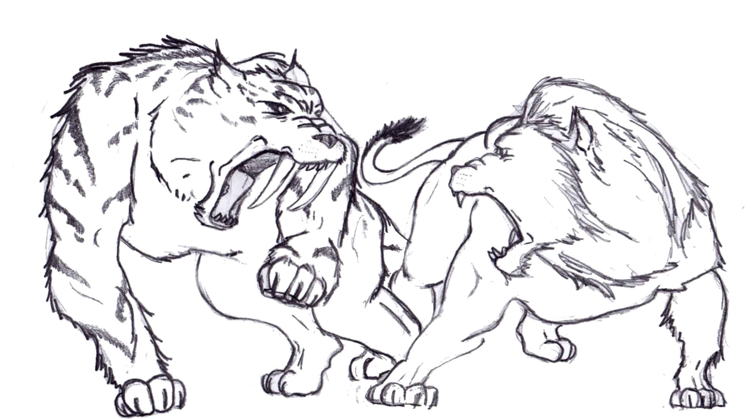 smilodon contra león, muy parecidos y muy diferentes a la vez.