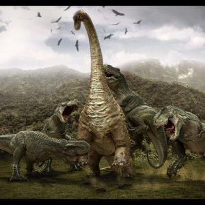tiranosaurios rex atacando diplodocus